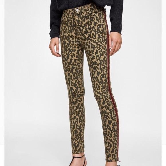 Zara Leopard Print Velvet Trim Stretch Skinny